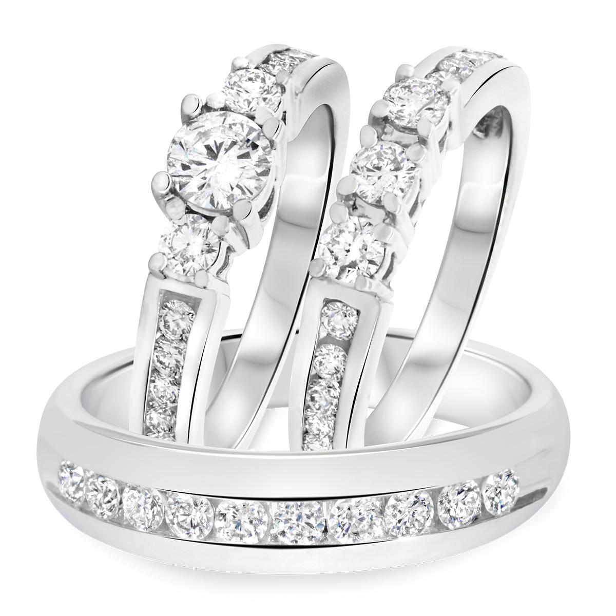 1 5/8 Carat T.W. Round Cut Diamond Mens Wedding Band 10K White Gold- Size 8
