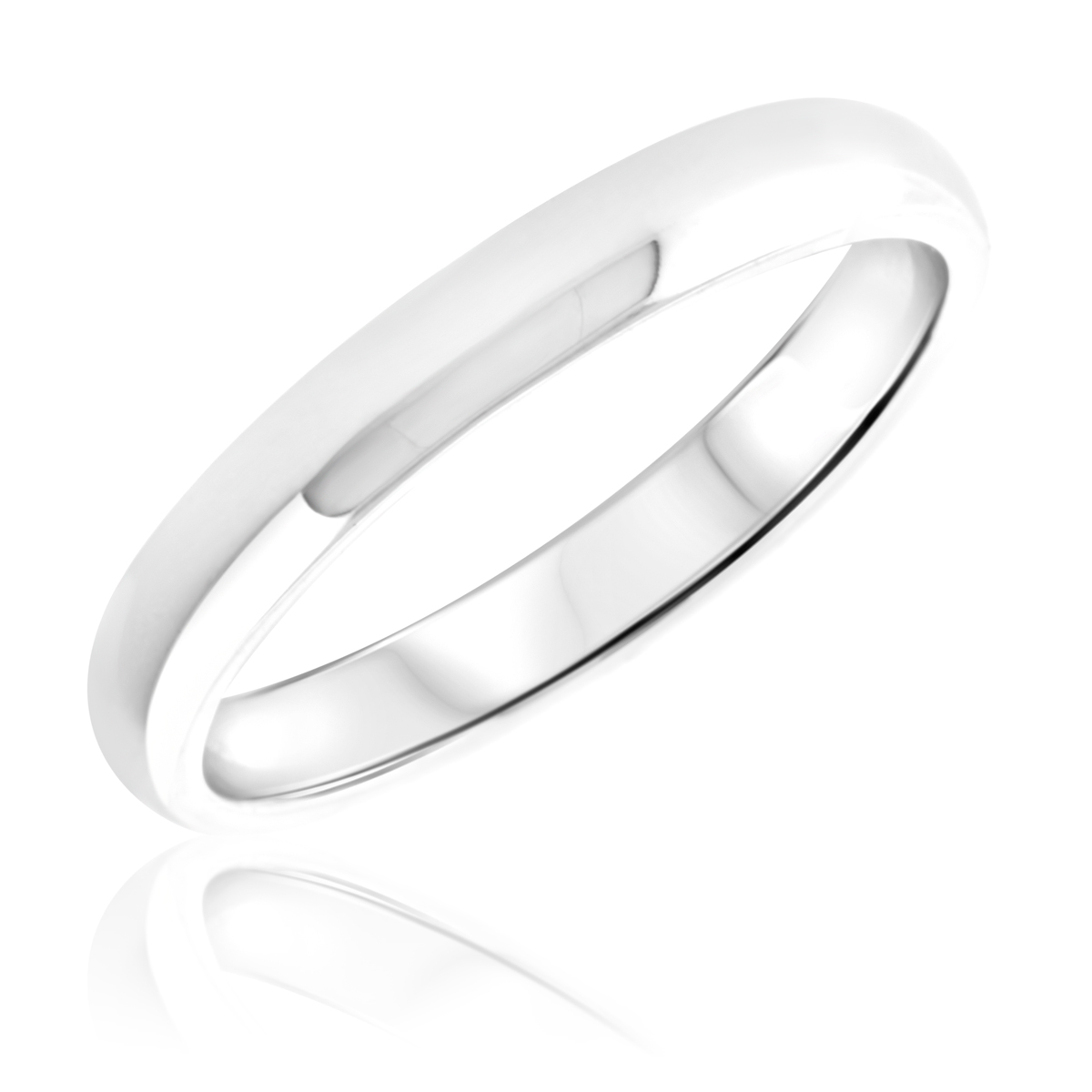 Traditional Ladies Wedding Band 10K White Gold- Size 8