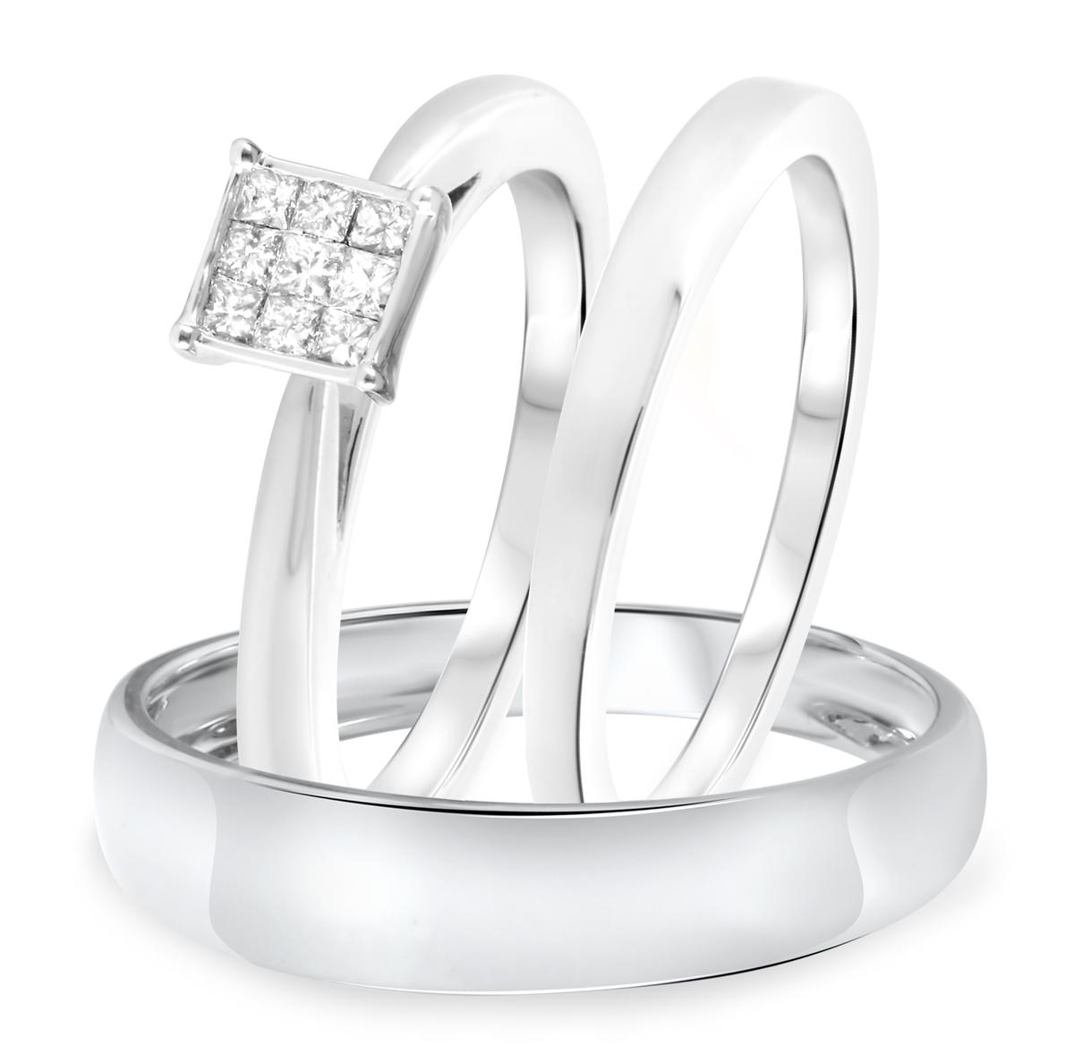 1/3 CT. T.W. Diamond Ladies Engagement Ring, Wedding Band, Men's Wedding Band