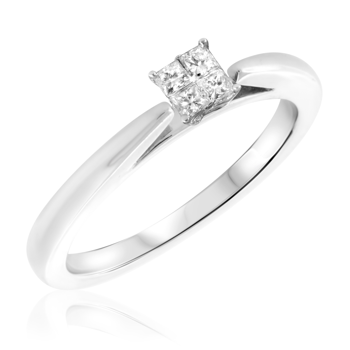 1/4 CT. T.W. Diamond Ladies Engagement Ring 10K White Gold- Size 8