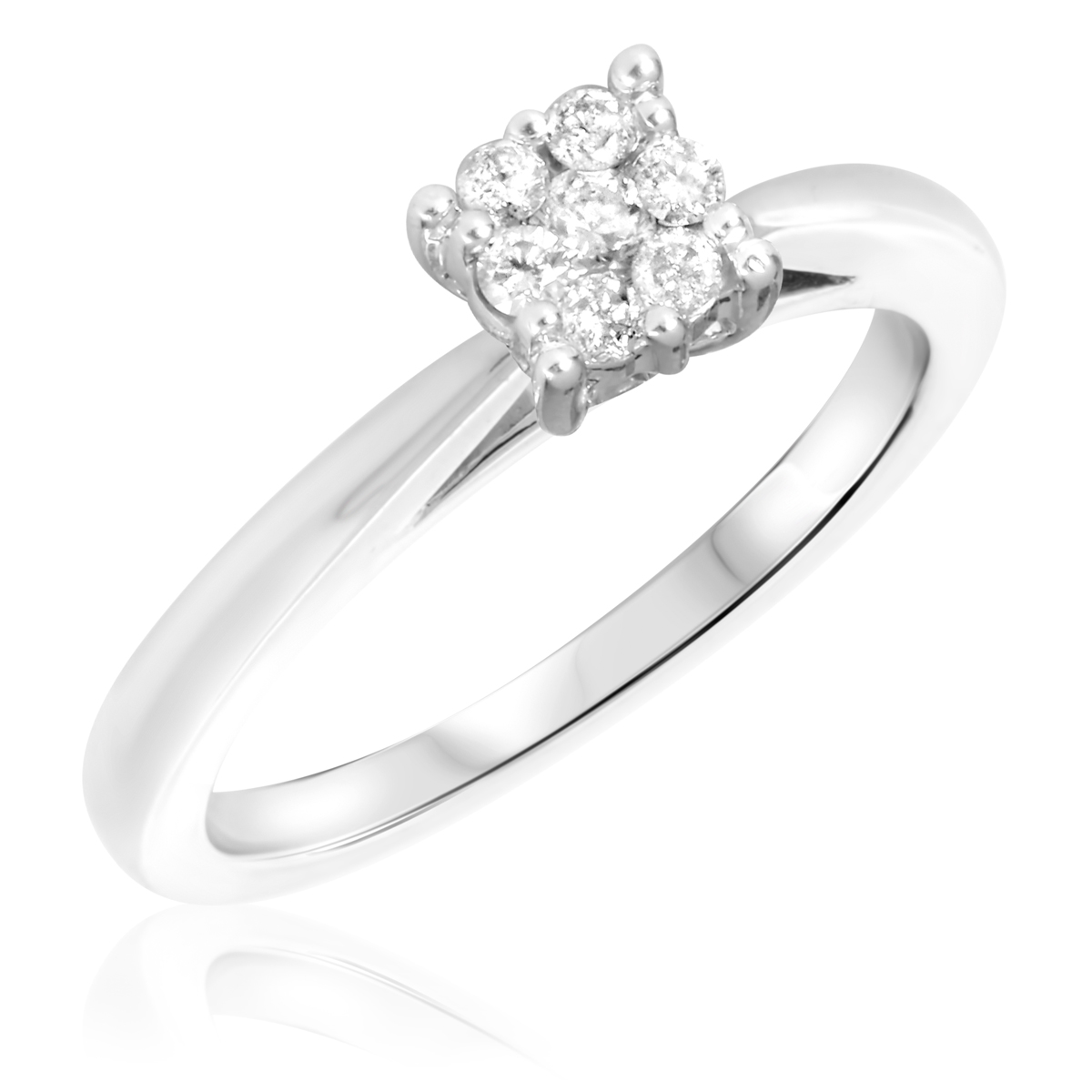 1/5 CT. T.W. Diamond Ladies Engagement Ring 10K White Gold- Size 8