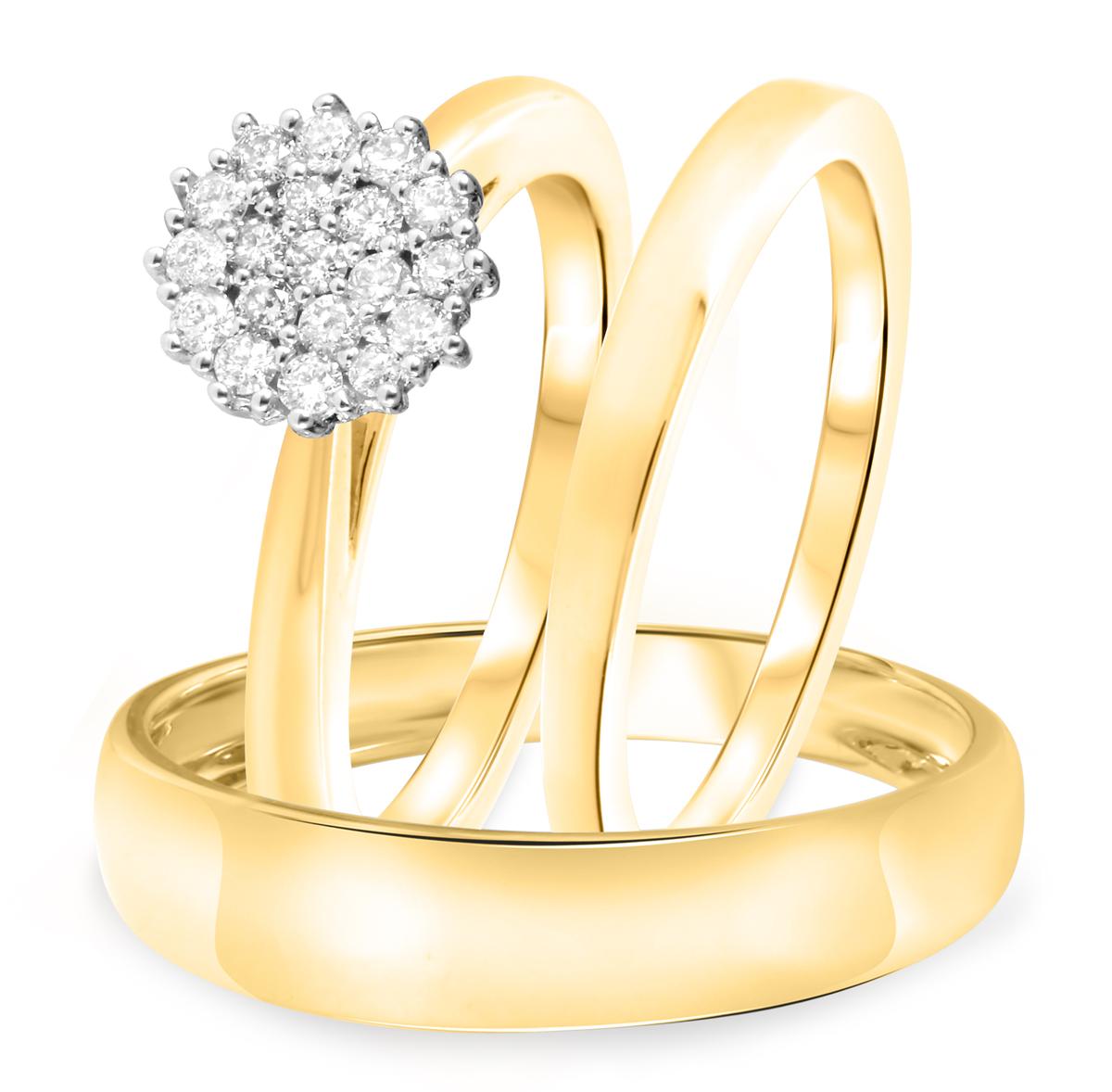 1/2 CT. T.W. Diamond Ladies Engagement Ring, Wedding Band, Men's Wedding Band