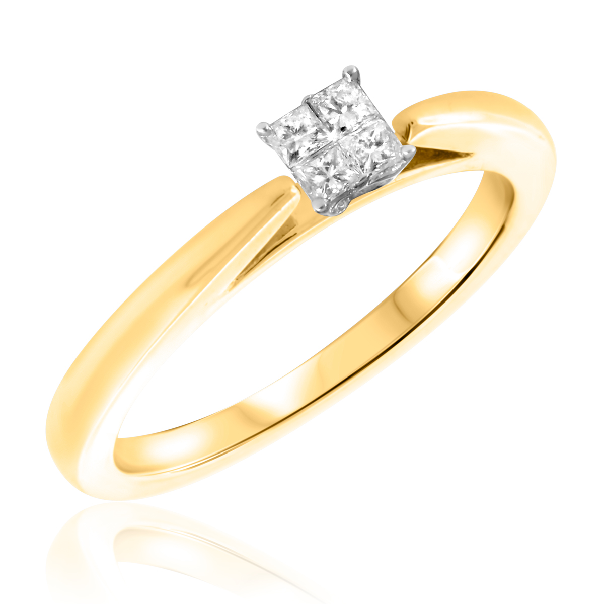 1/4 CT. T.W. Diamond Ladies Engagement Ring 10K Yellow Gold- Size 8