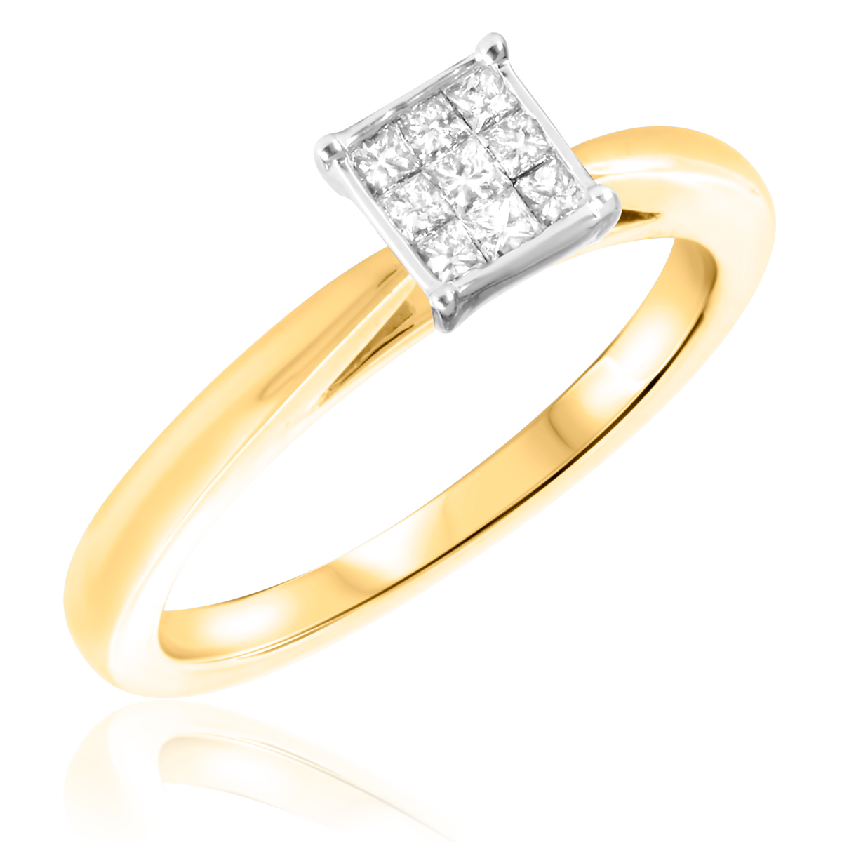 1/3 CT. T.W. Diamond Ladies Engagement Ring 10K Yellow Gold- Size 8