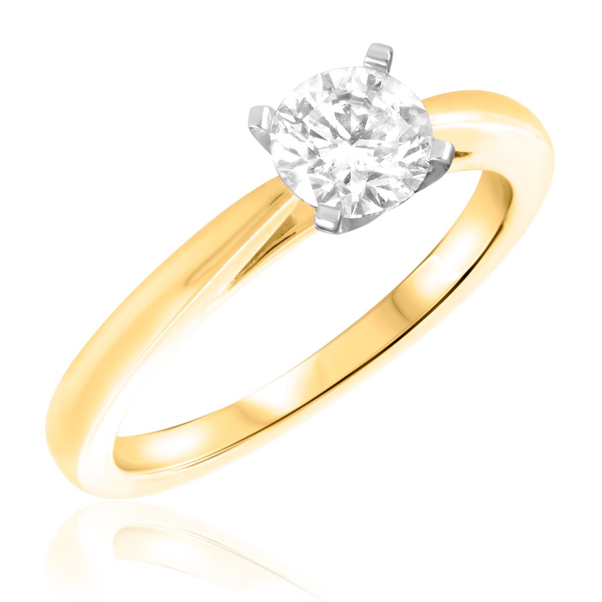 1 CT. T.W. Diamond Ladies Engagement Ring 14K Yellow Gold- Size 8
