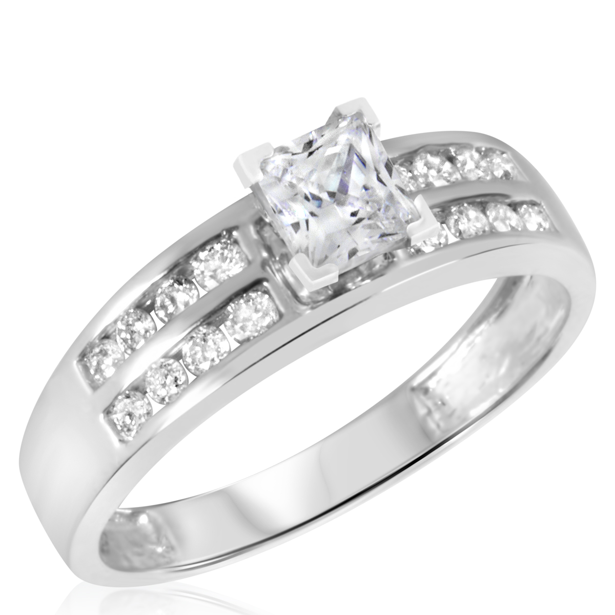 7/8 CT. T.W. Diamond Ladies Engagement Ring 14K White Gold- Size 8