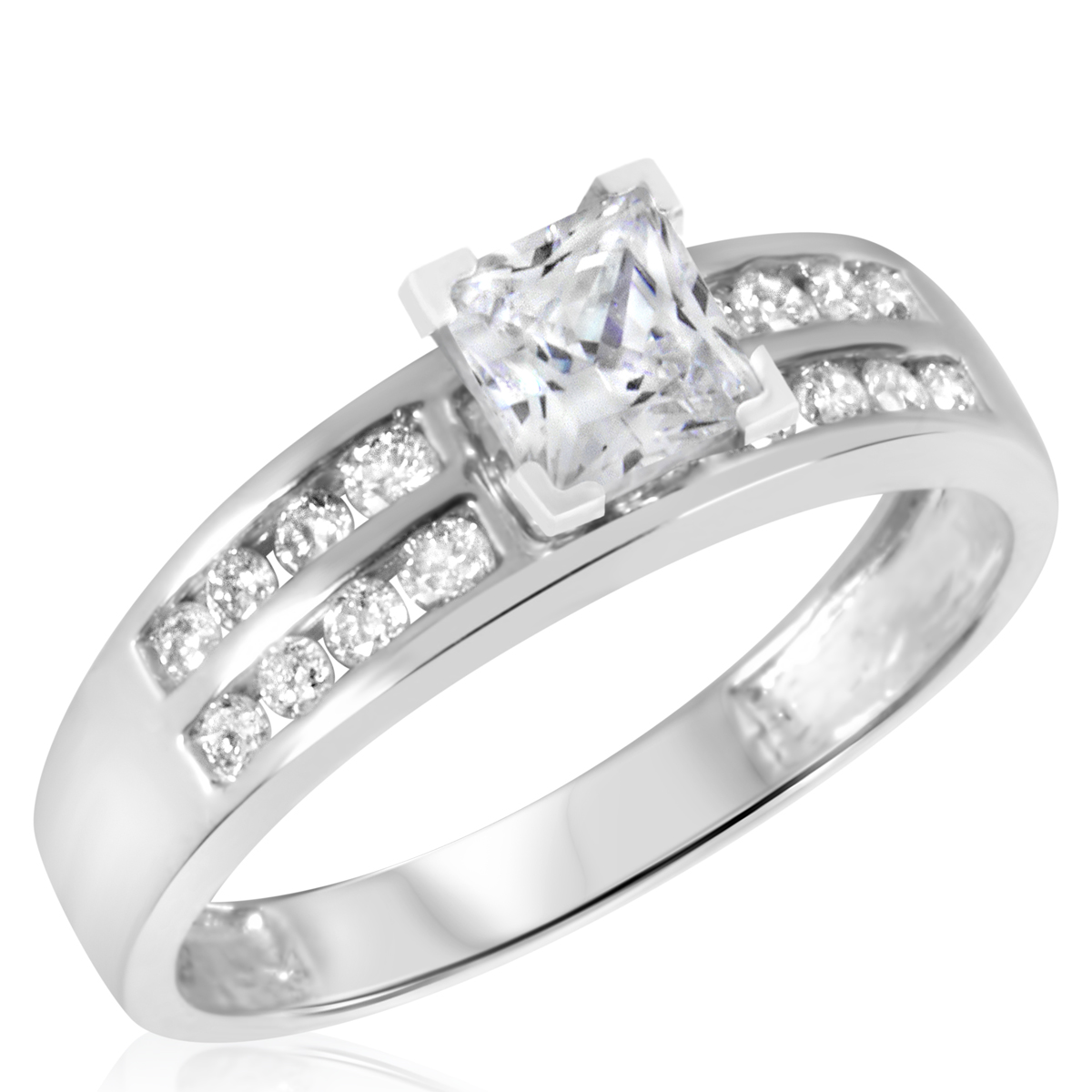 1 1/10 CT. T.W. Diamond Ladies Engagement Ring 14K White Gold- Size 8