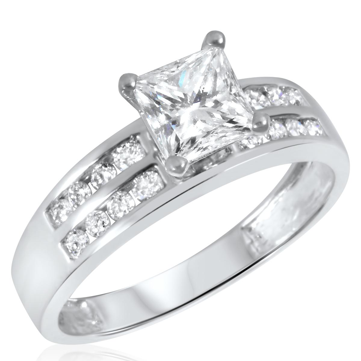 1 1/3 CT. T.W. Diamond Ladies Engagement Ring 14K White Gold- Size 8