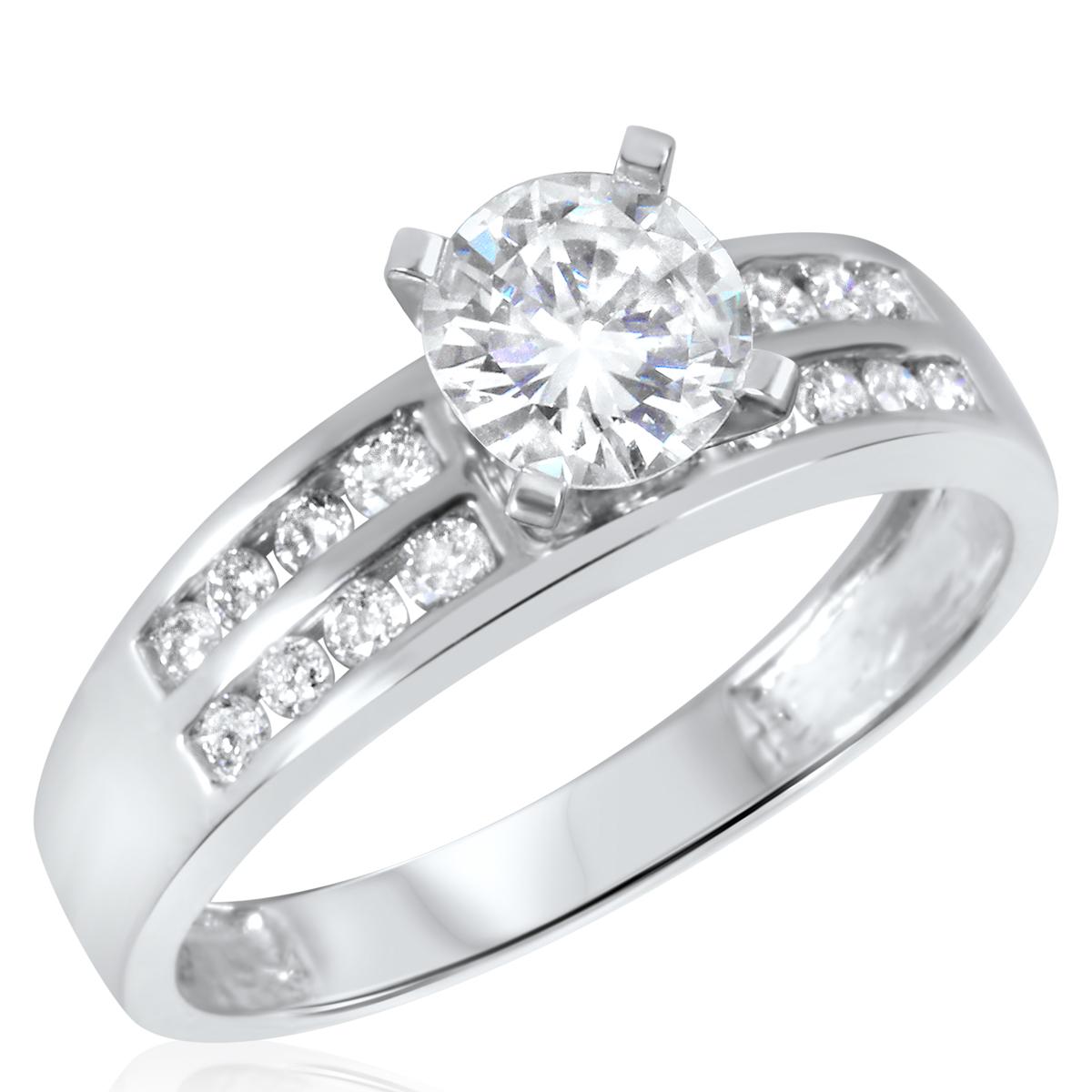 1 1/10 CT. T.W. Diamond Ladies Engagement Ring 14K White Gold- Size 8