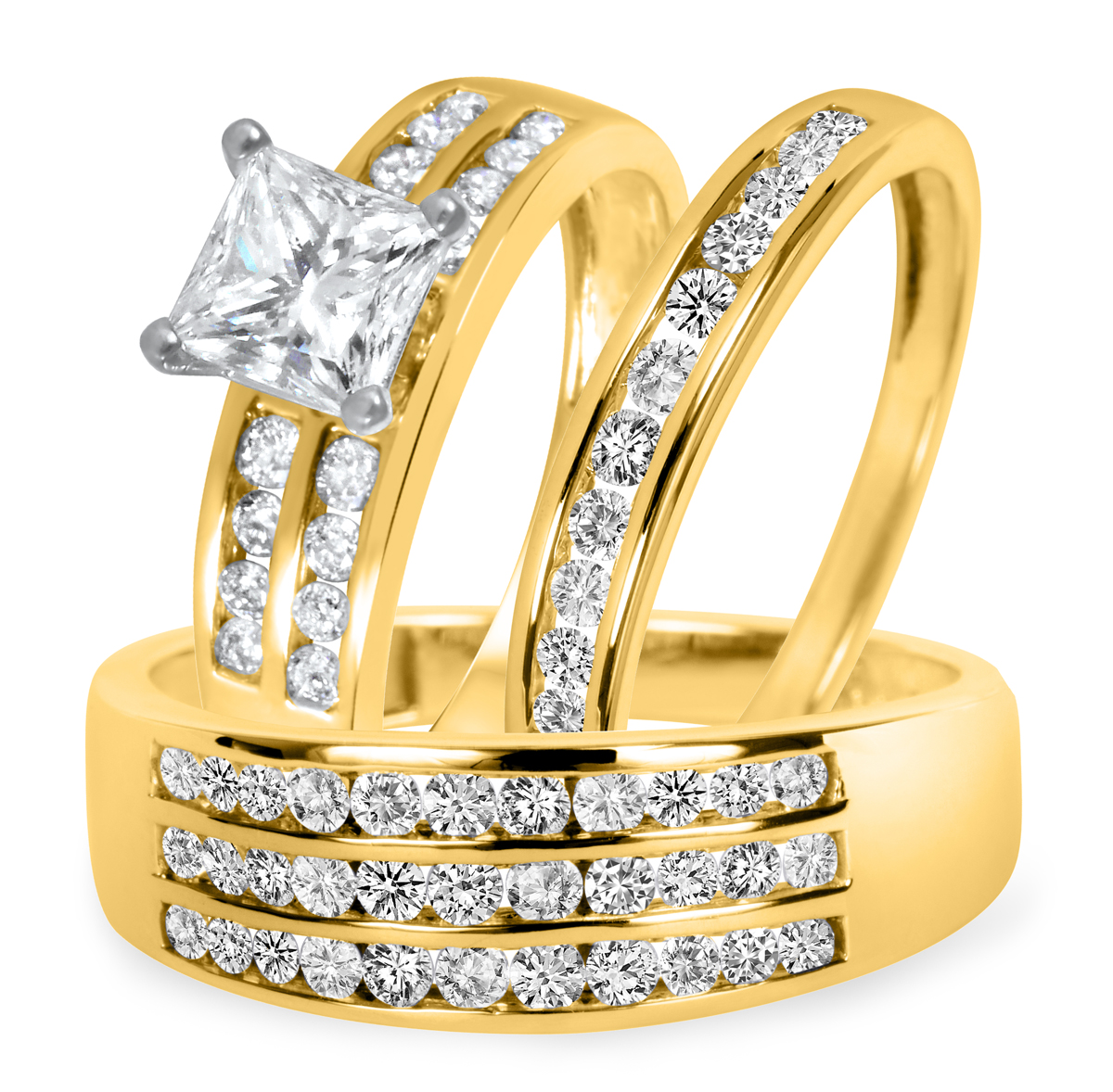 2 1/5 CT. T.W. Diamond Ladies Engagement Ring, Wedding Band, Men's Wedding Band