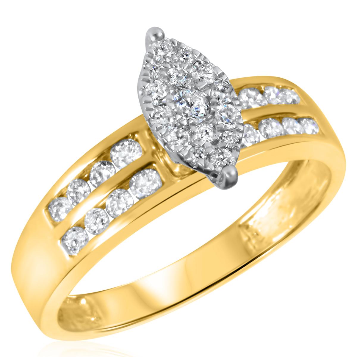 1/2 CT. T.W. Diamond Ladies Engagement Ring 10K Yellow Gold- Size 8