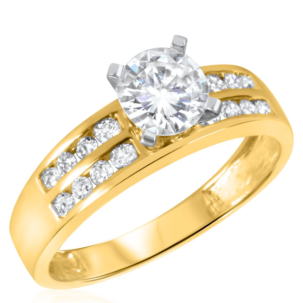 1 1/10 CT. T.W. Diamond Ladies Engagement Ring 10K Yellow Gold- Size 8