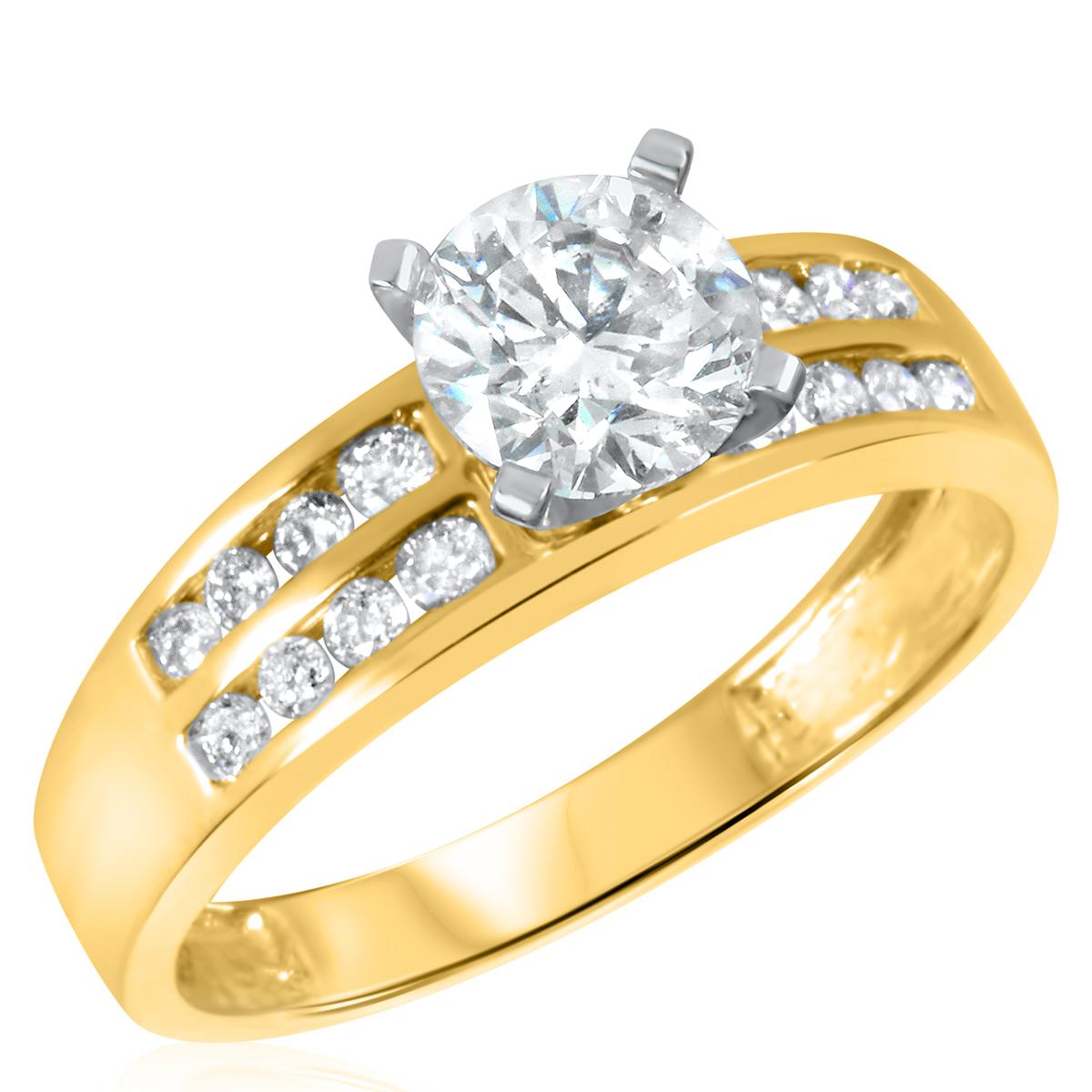 1 1/3 CT. T.W. Diamond Ladies Engagement Ring 10K Yellow Gold- Size 8