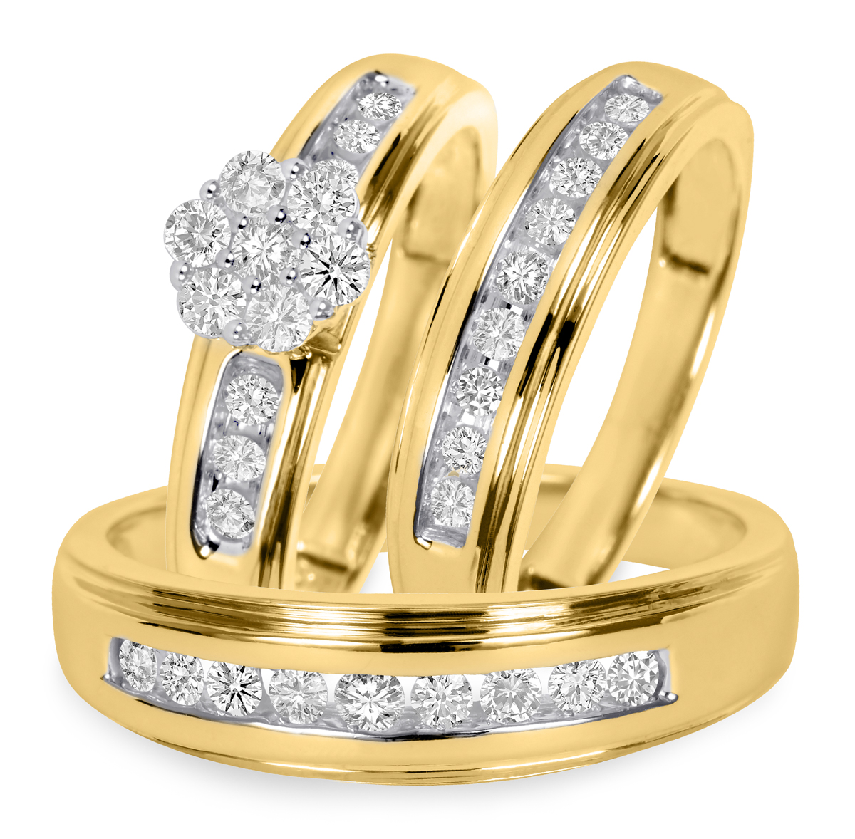 3/4 CT. T.W. Round Cut Diamond His and Hers Engagement Ring, Ladies Wedding