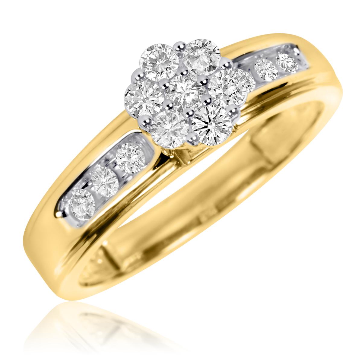 3/8 Carat T.W. Round Cut Diamond Ladies Engagement Ring 10K Yellow Gold- Size 8