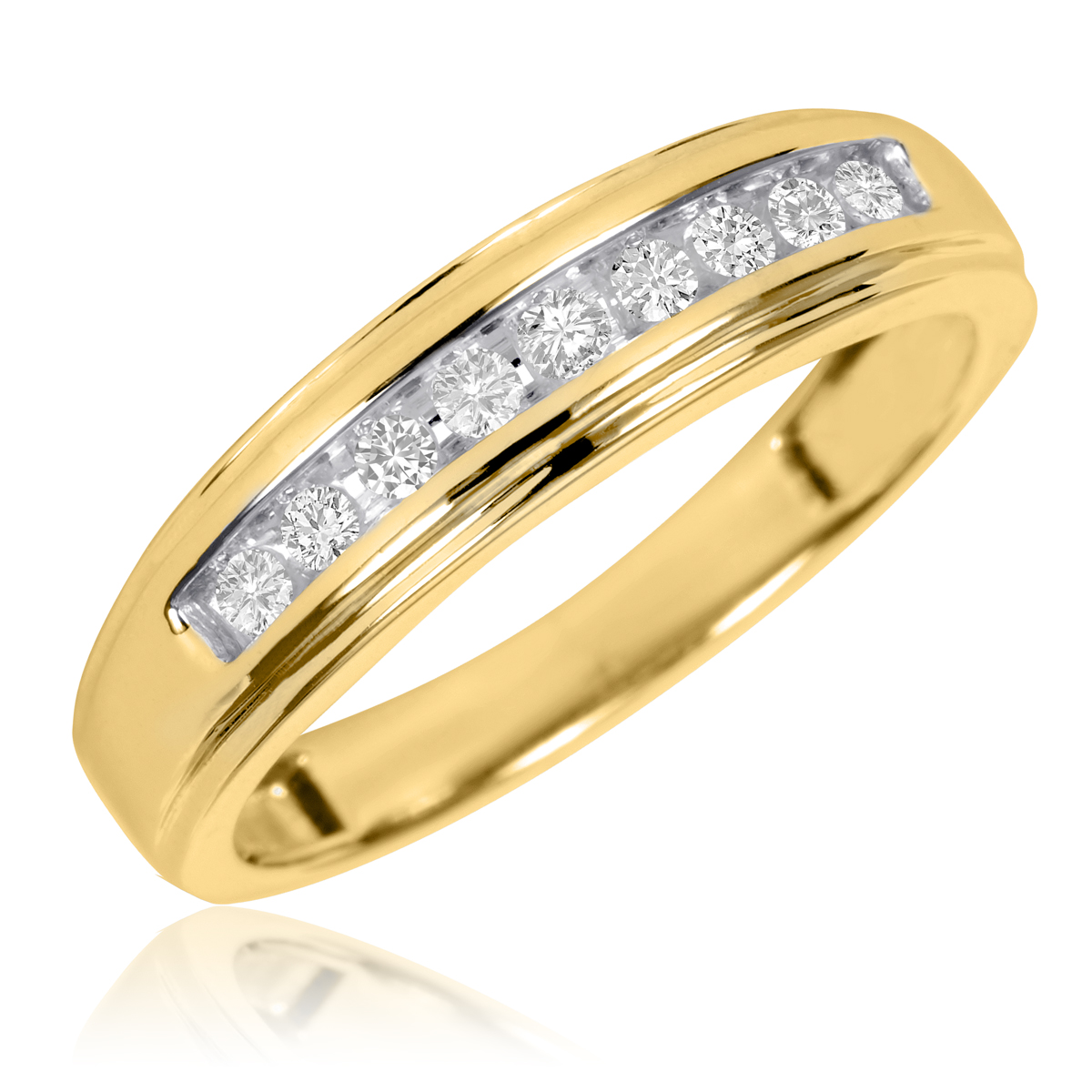 1/5 Carat T.W. Round Cut Diamond Ladies Wedding Ring 10K Yellow Gold- Size 8