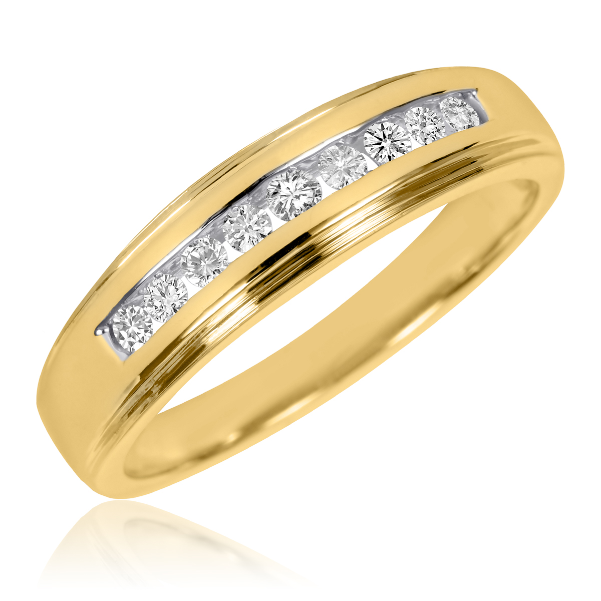 1/5 CT. T.W. Round Cut Diamond Men's Wedding Ring 14K Yellow Gold- Size 8