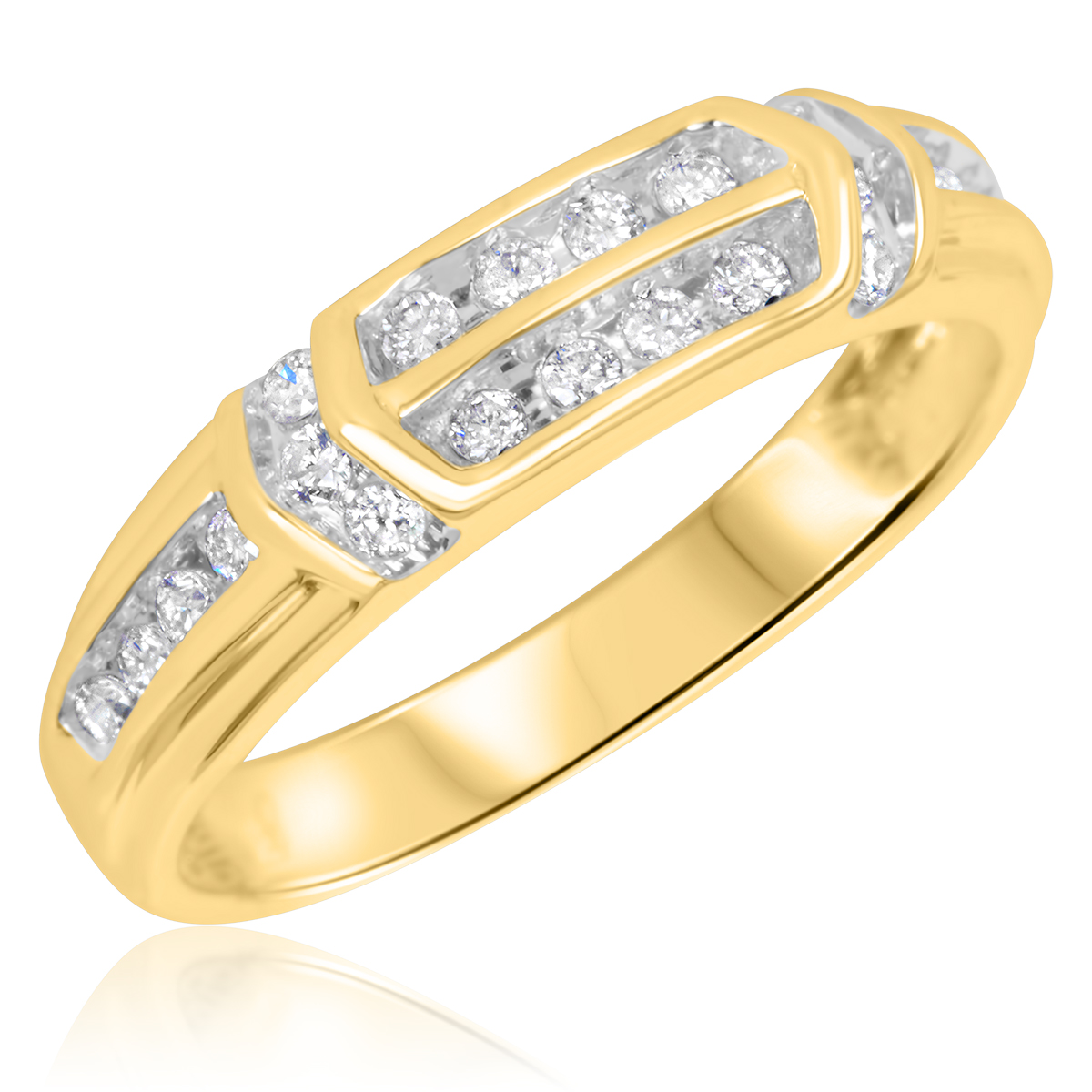 1/4 CT. T.W. Round Cut Diamond Ladies Wedding Ring 10K Yellow Gold- Size 8