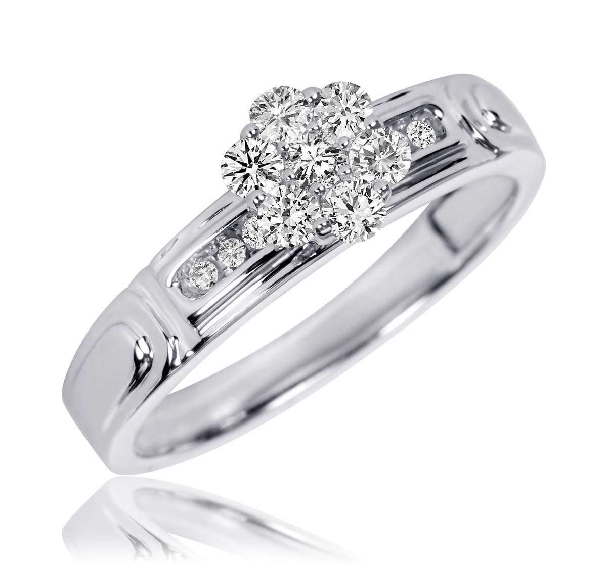 1/3 CT. T.W. Round Cut Diamond Ladies Engagement Ring 10K White Gold- Size 8
