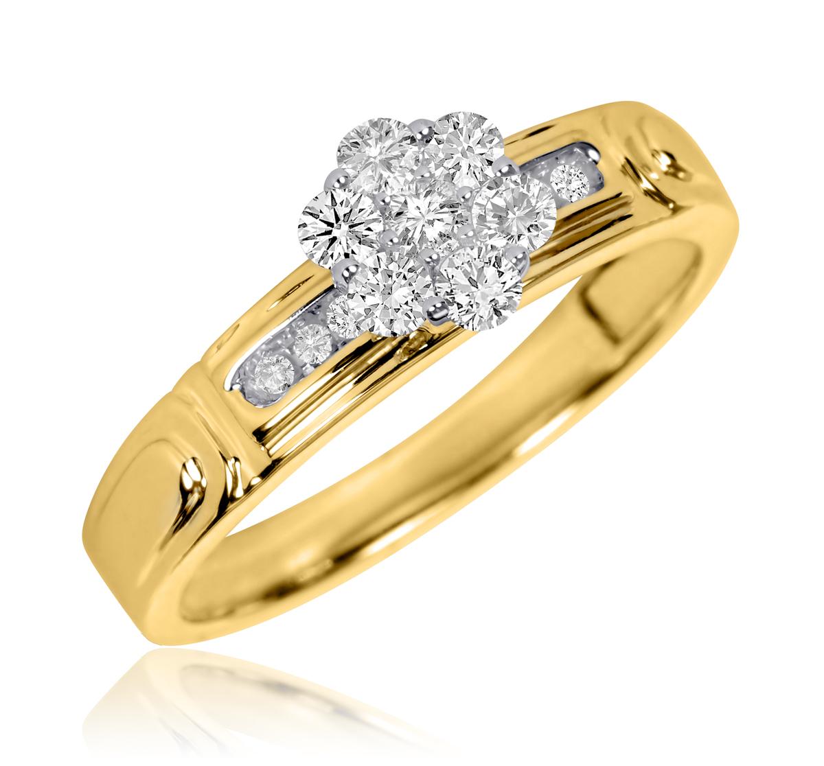 1/3 CT. T.W. Round Cut Diamond Ladies Engagement Ring 14K Yellow Gold- Size 8