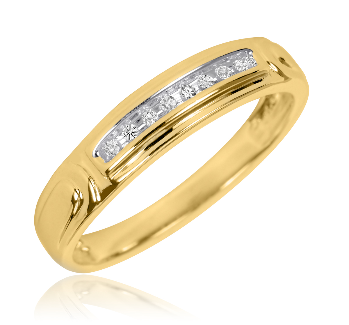1/20 Carat T.W. Round Cut Diamond Men's Wedding Band 14K Yellow Gold- Size 8