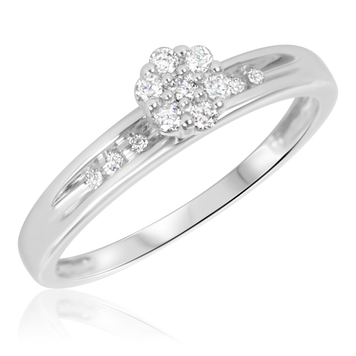 1/6 Carat T.W. Round Cut Diamond Ladies Engagement Ring 14K White Gold- Size 8