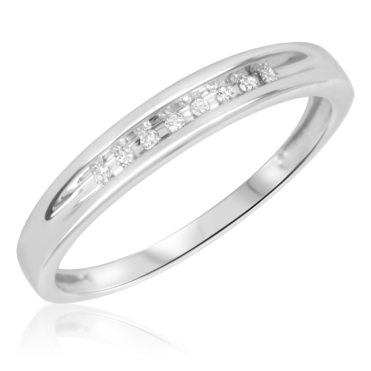 1/20 Carat T.W. Round Cut Diamond Ladies Wedding Band 10K White Gold- Size 8
