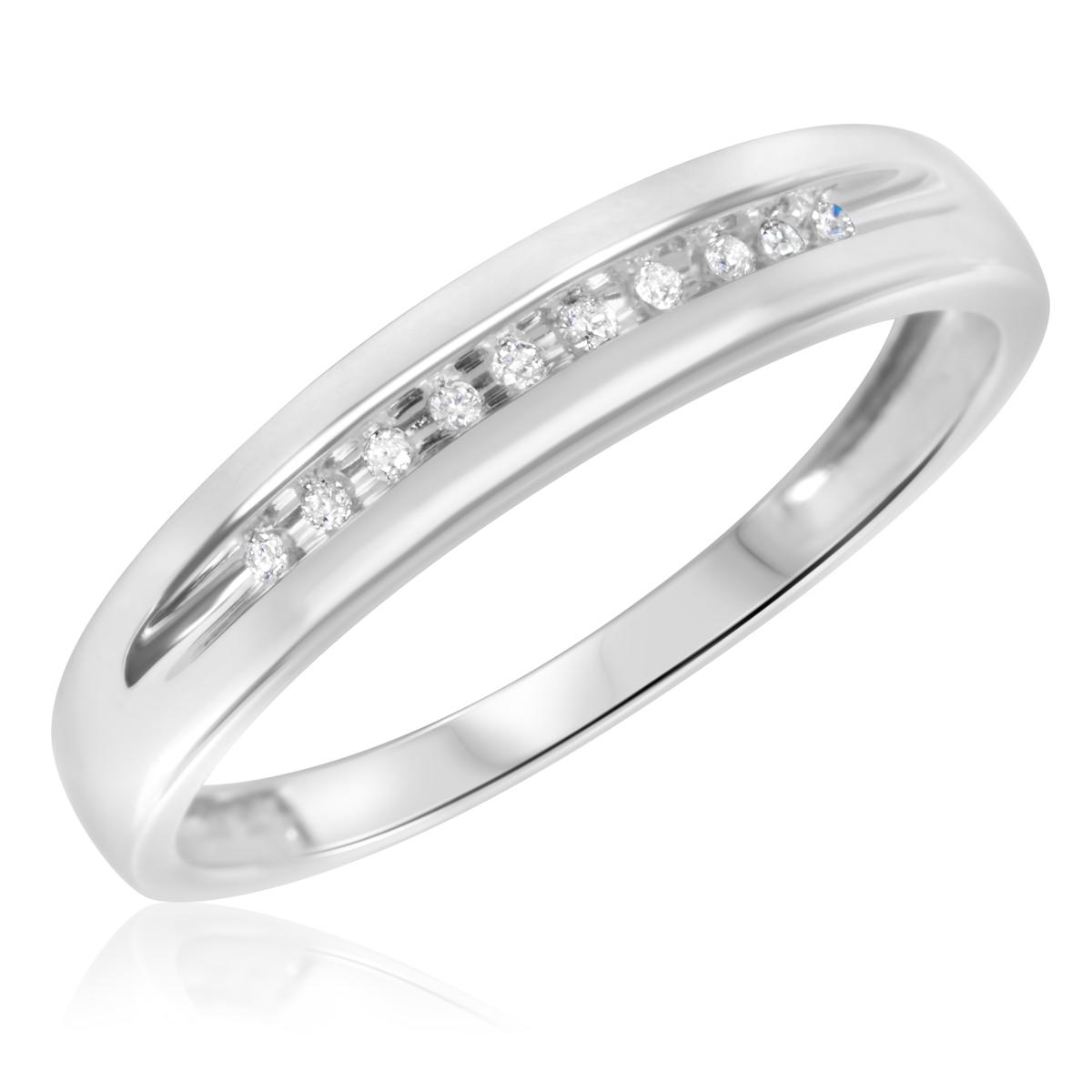 1/15 CT. T.W. Round Cut Diamond Men's Wedding Band 14K White Gold- Size 8