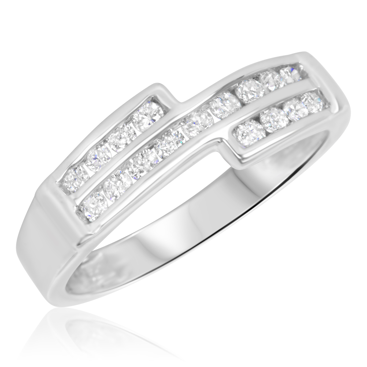 3/8 Carat T.W. Round Cut Diamond Ladies Wedding Band 14K White Gold- Size 8