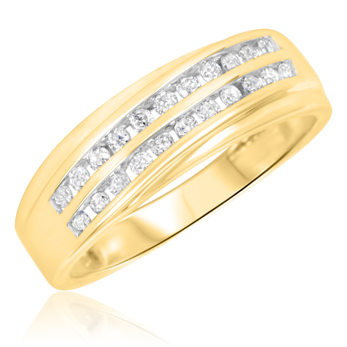 1/3 Carat T.W. Round Cut Diamond Ladies Wedding Band 10K Yellow Gold- Size 8