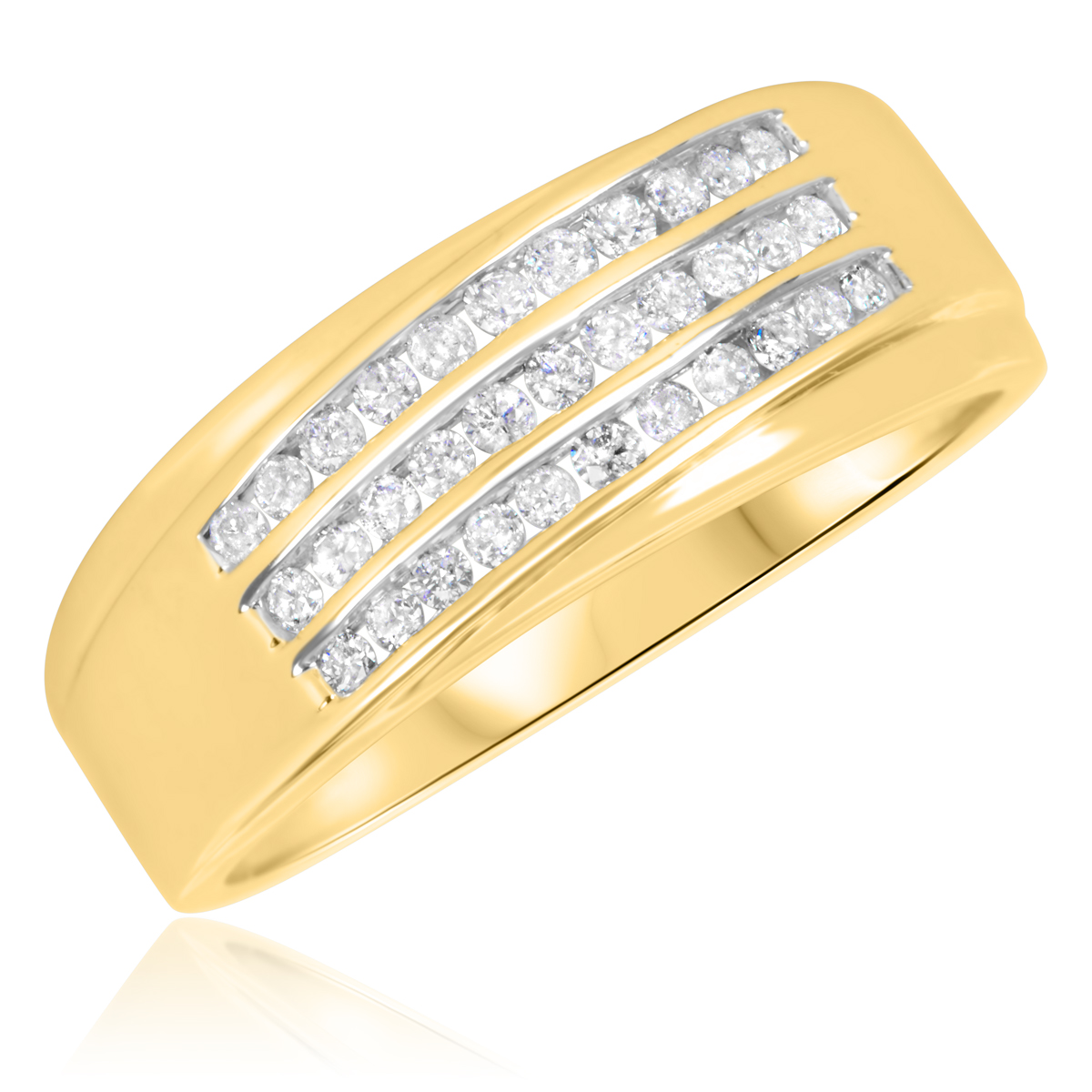 1/2 Carat T.W. Round Cut Diamond Men's Wedding Band 10K Yellow Gold- Size 8