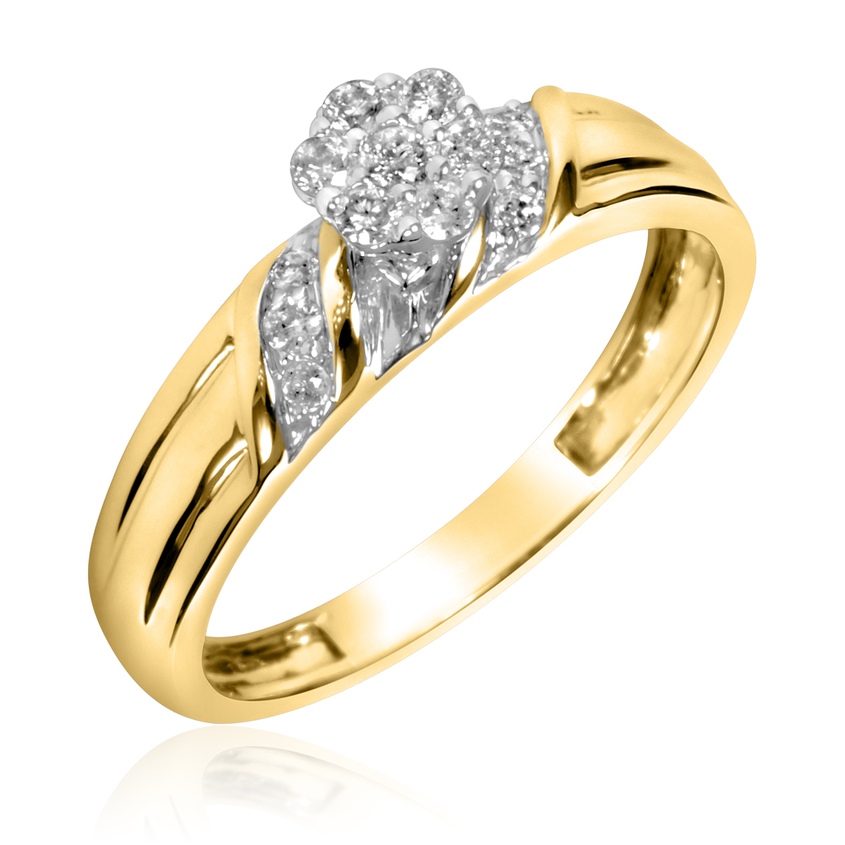 1/5 CT. T.W. Round Cut Diamond Ladies Engagement Ring 10K Yellow Gold- Size 8