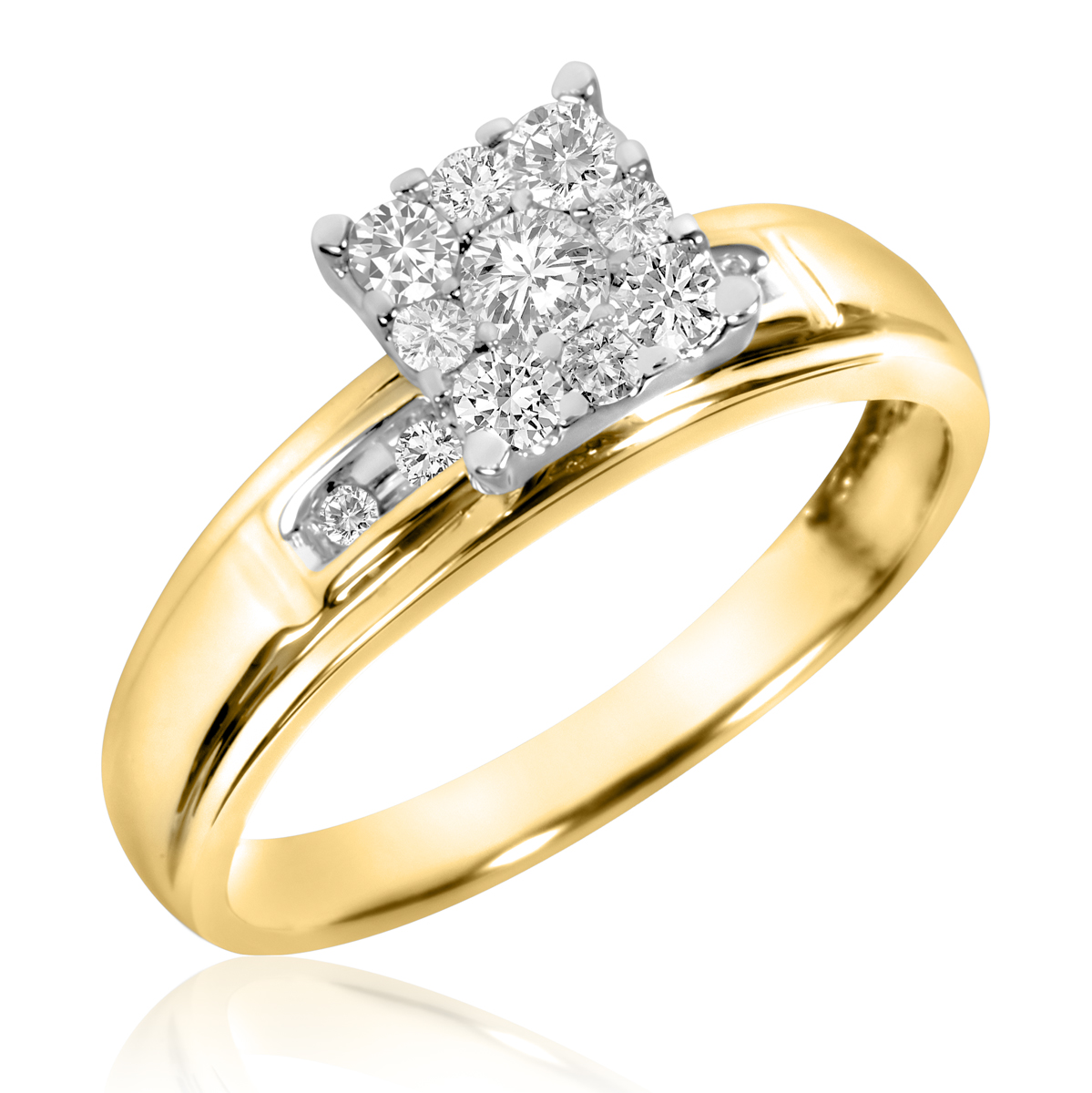 3/8 Carat T.W. Round Cut Diamond Ladies Engagement Ring 10K Yellow Gold- Size 8