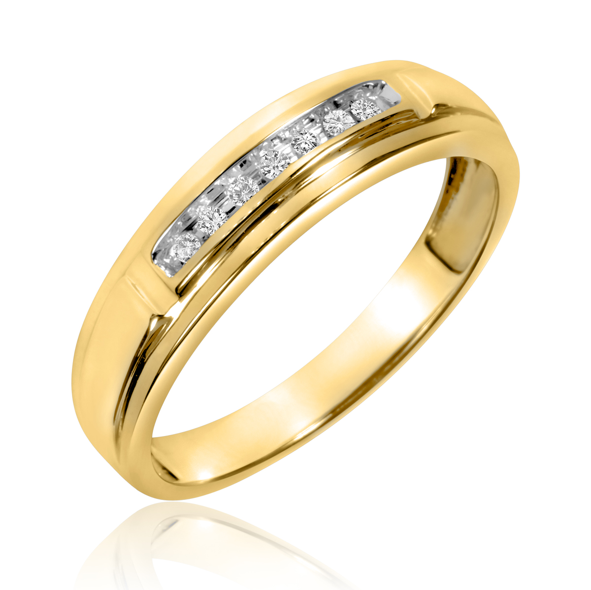 1/15 Carat T.W. Round Cut Diamond Men's Wedding Band 10K Yellow Gold- Size 8