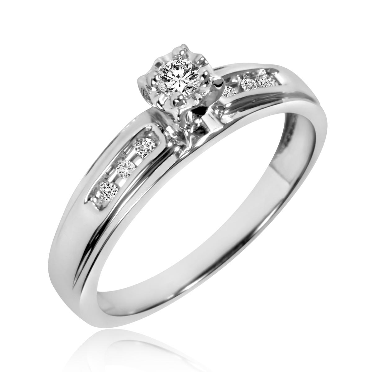 1/8 Carat T.W. Round Cut Diamond Ladies Engagement Ring 14K White Gold- Size 8