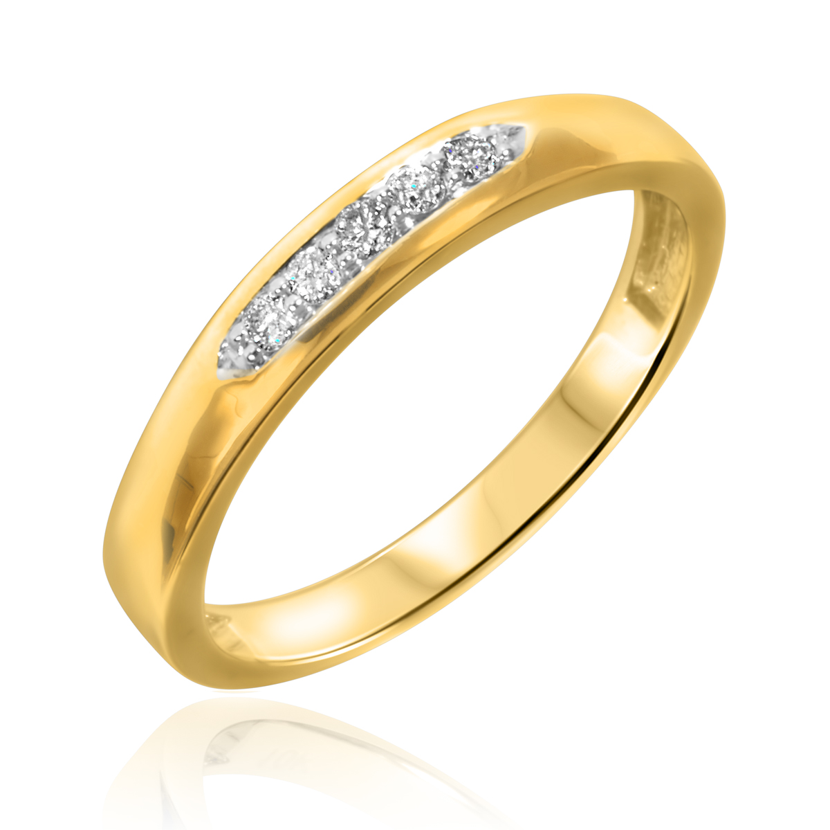 1/10 Carat T.W. Round Cut Diamond Ladies Wedding Band 14K Yellow Gold- Size 8