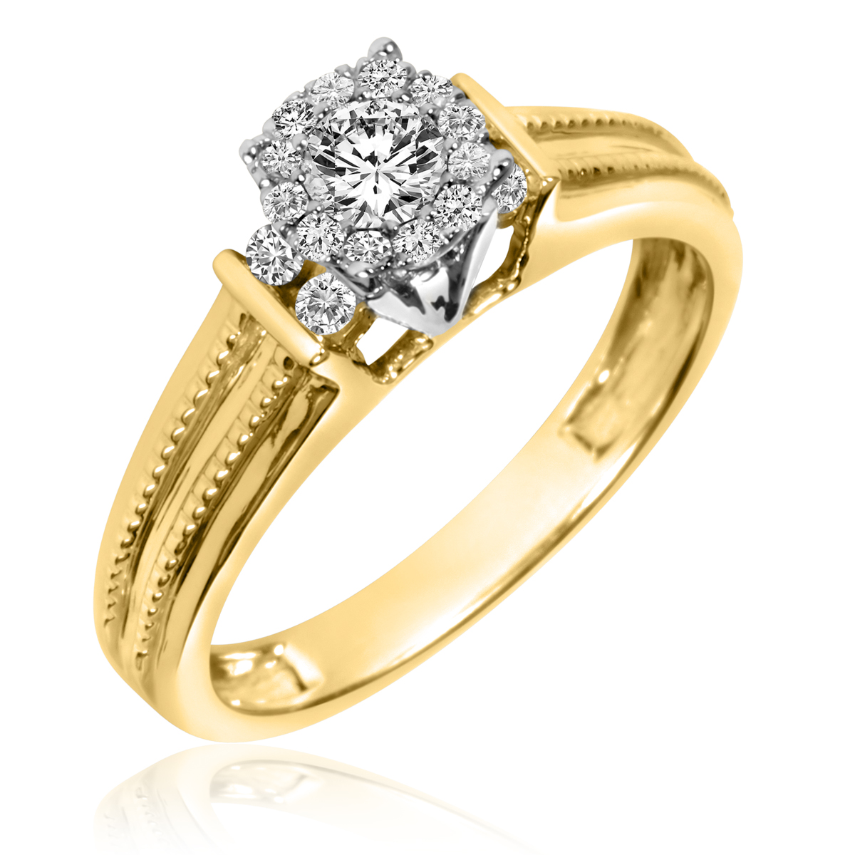 3/8 Carat T.W. Round Cut Diamond Ladies Engagement Ring 14K Yellow Gold- Size 8