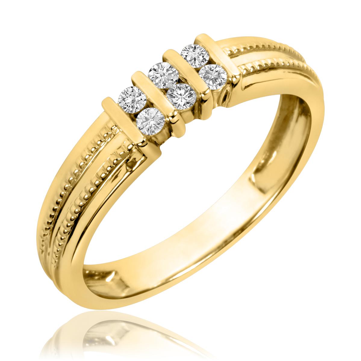 1/5 CT. T.W. Round Cut Diamond Men's Wedding Band 14K Yellow Gold- Size 8