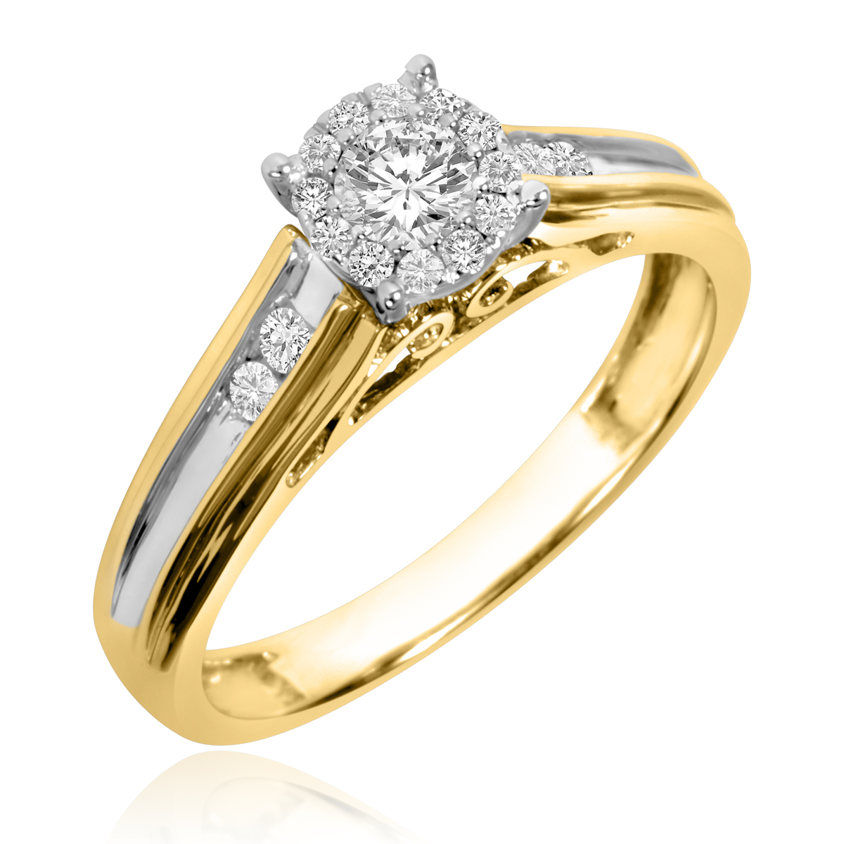 1/2 CT. T.W. Round Cut Diamond Ladies Engagement Ring 14K Yellow Gold- Size 8