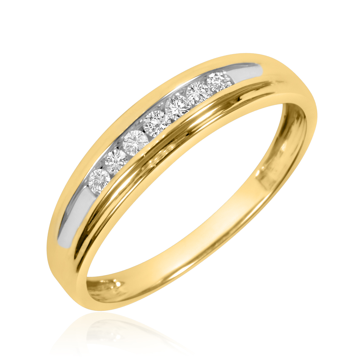 1/8 CT. T.W. Round Cut Diamond Ladies Wedding Band 10K Yellow Gold- Size 8