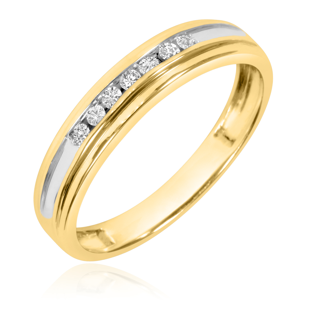 1/5 Carat T.W. Round Cut Diamond Men's Wedding Band 10K Yellow Gold- Size 8