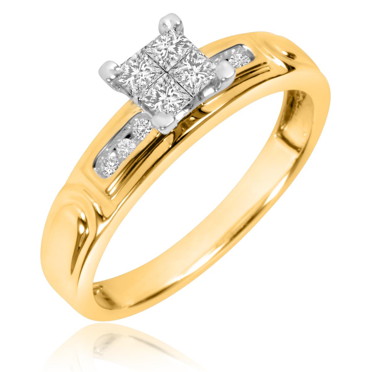 1/3 CT. T.W. Princess, Round Cut Diamond Ladies Engagement Ring 10K Yellow Gold-