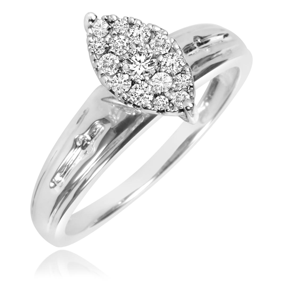 1/5 Carat T.W. Round Cut Diamond Ladies Engagement Ring 10K White Gold- Size 8