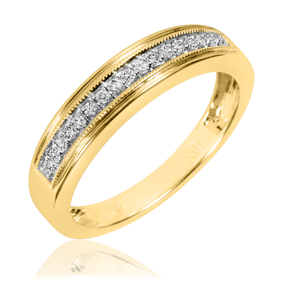 1/6 Carat T.W. Round Cut Diamond Men's Wedding Band 10K Yellow Gold- Size 8