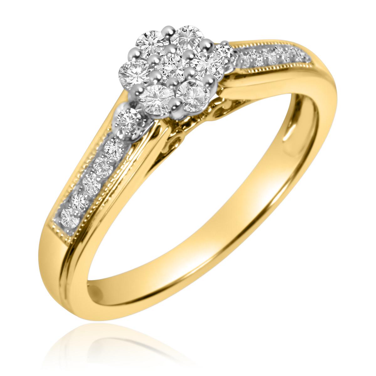 1/4 CT. T.W. Round Cut Diamond Ladies Engagement Ring 10K Yellow Gold- Size 8