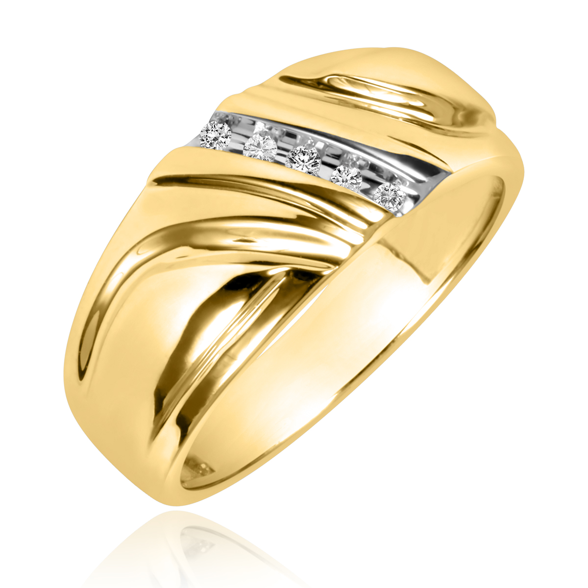 1/15 Carat T.W. Round Cut Diamond Men's Wedding Band 14K Yellow Gold- Size 8