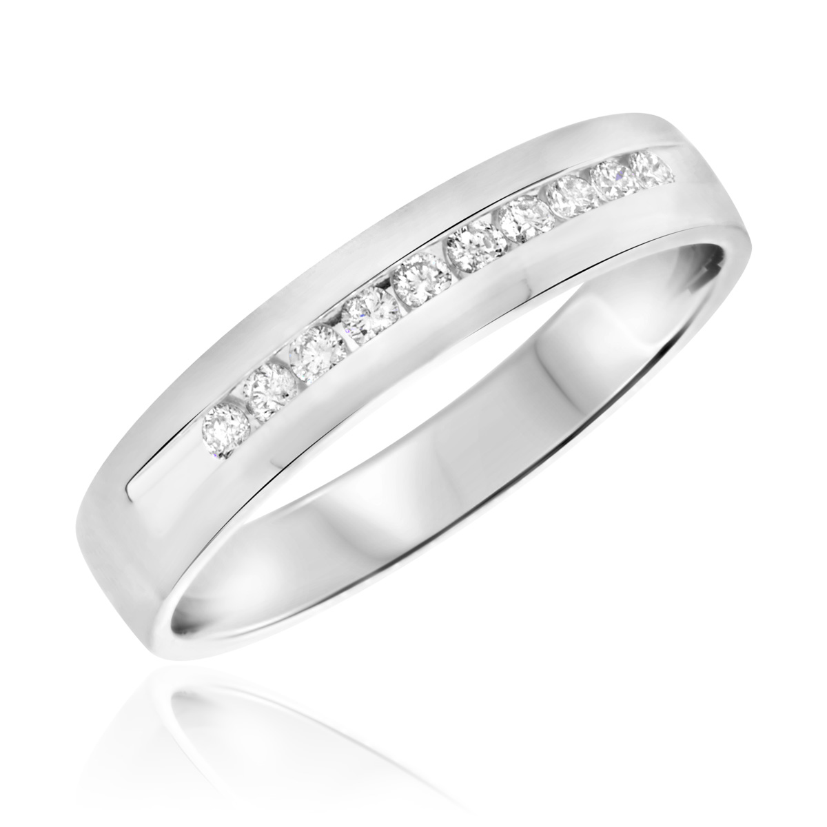 1/4 CT. T.W. Round Cut Diamond Men's Wedding Band 10K White Gold- Size 8