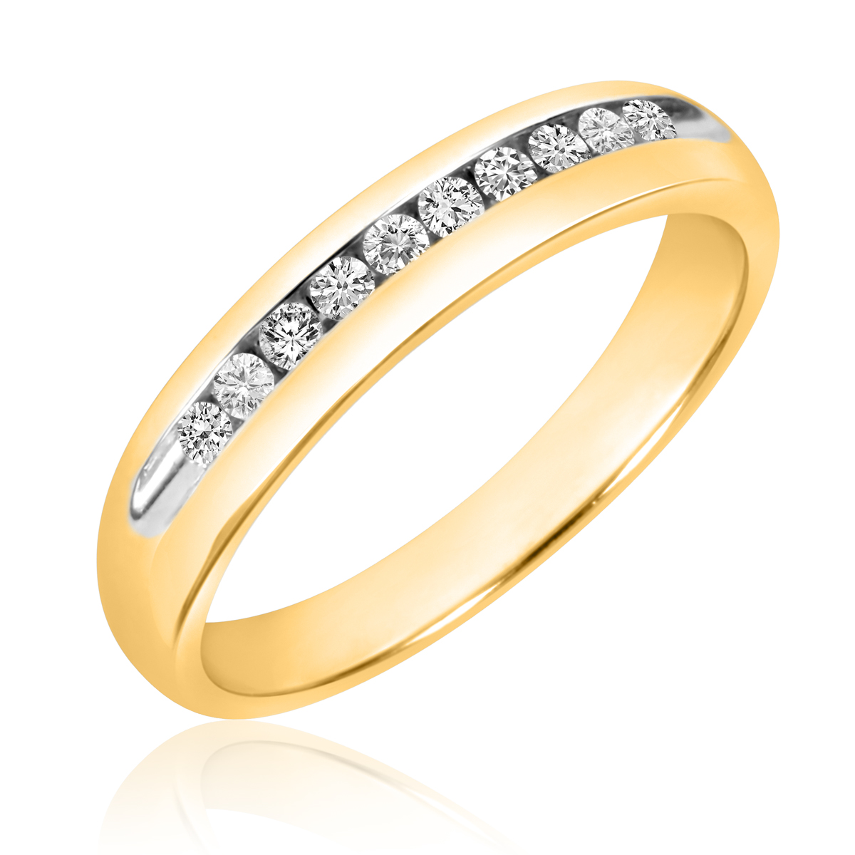 1/4 CT. T.W. Round Cut Diamond Men's Wedding Band 10K Yellow Gold- Size 8
