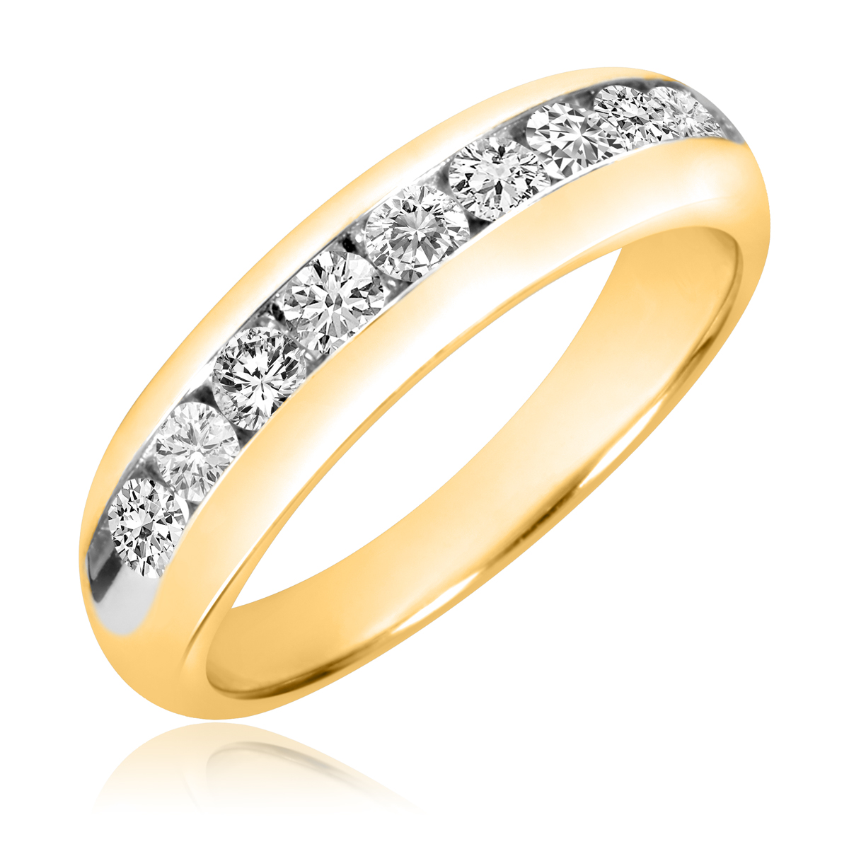 1 Carat T.W. Round Cut Diamond Men's Wedding Band 14K Yellow Gold- Size 8