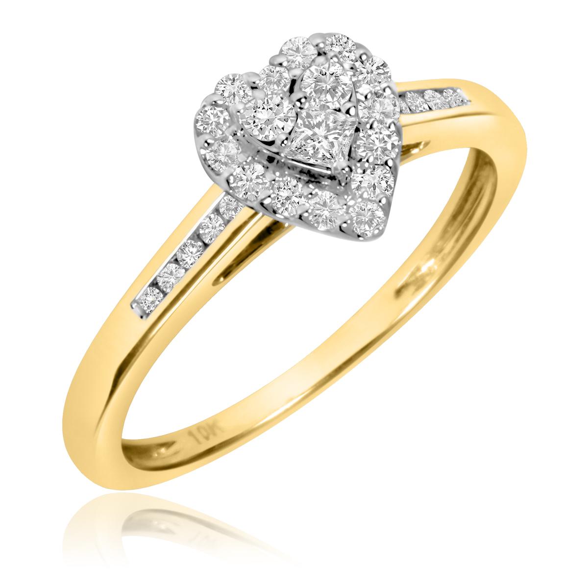 1/3 Carat T.W. Round Cut Diamond Ladies Engagement Ring 10K Yellow Gold- Size 8